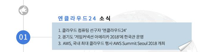 01 엔클라우드24 소식-1.클라우드 컴퓨팅 선구자 '엔클라우드24' 2.경기도 게임커넥션 아메리카 2018에 한국과 운영 3.AWS, 국내 최대 클라우드 행사 AWS Summit Seoul 2018 개최