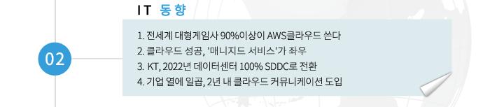 02 IT동향 -1.전세계 대형게임사 90% 이상이 AWS 클라우드 쓴다. 2. 클라우드 성공, '매니지드 서비스'가 좌우 3.  KT, 2022년 데이터센터 100% SDDC로 전환 4. 기업 열에 일곱, 2년 내 클라우드 커뮤니케이션 도입